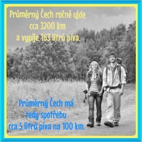 Průměrný Čech ročně ujde cca 3 200 km a vypije...