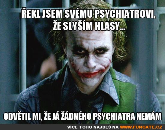 Řekl jsem svému psychiatrovi, že slyším hlasy...