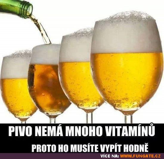 Pivo nemá mnoho vitamínů, proto...